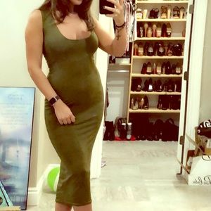 Missguided Olive Green Square Neck Midi Dress